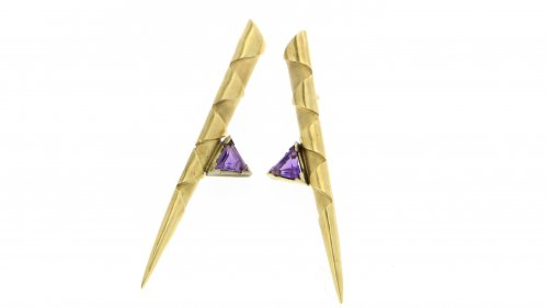 Ohrstecker GOLD Zacken Amethyst Triangel
