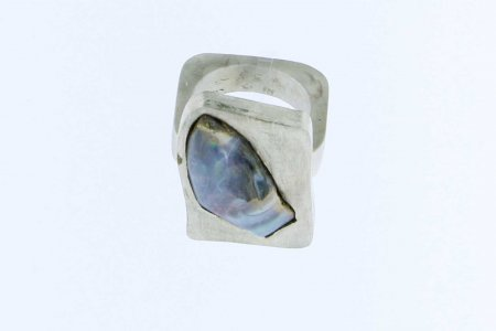 Ring SILBER massiv Boulderopal in Platte